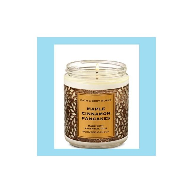 Bath And Body Works Medium Candle Maple Cinnamon Pancakes 198gm