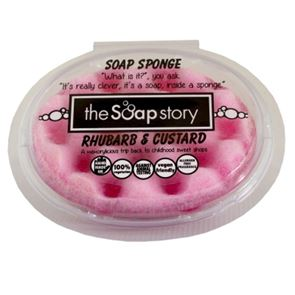 The Soap Story Rhubarb & Custard Massaging Sponge Soap 150g